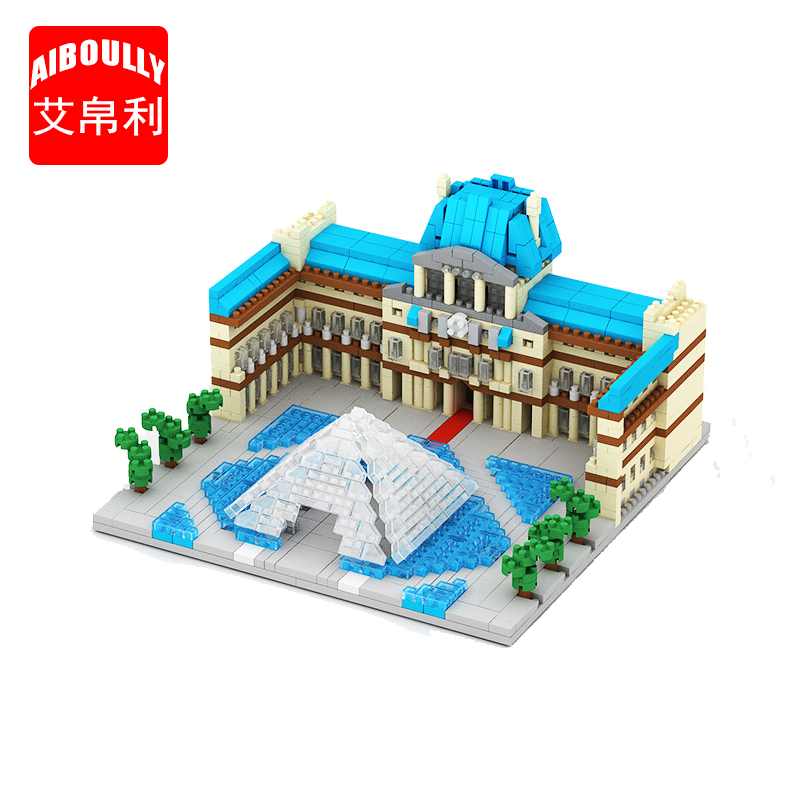 AIBOULLY 054 World Famous Architecture Paris Louvre Museum 3D Model Mini Diamond Building Blocks Bricks Toy for Children image