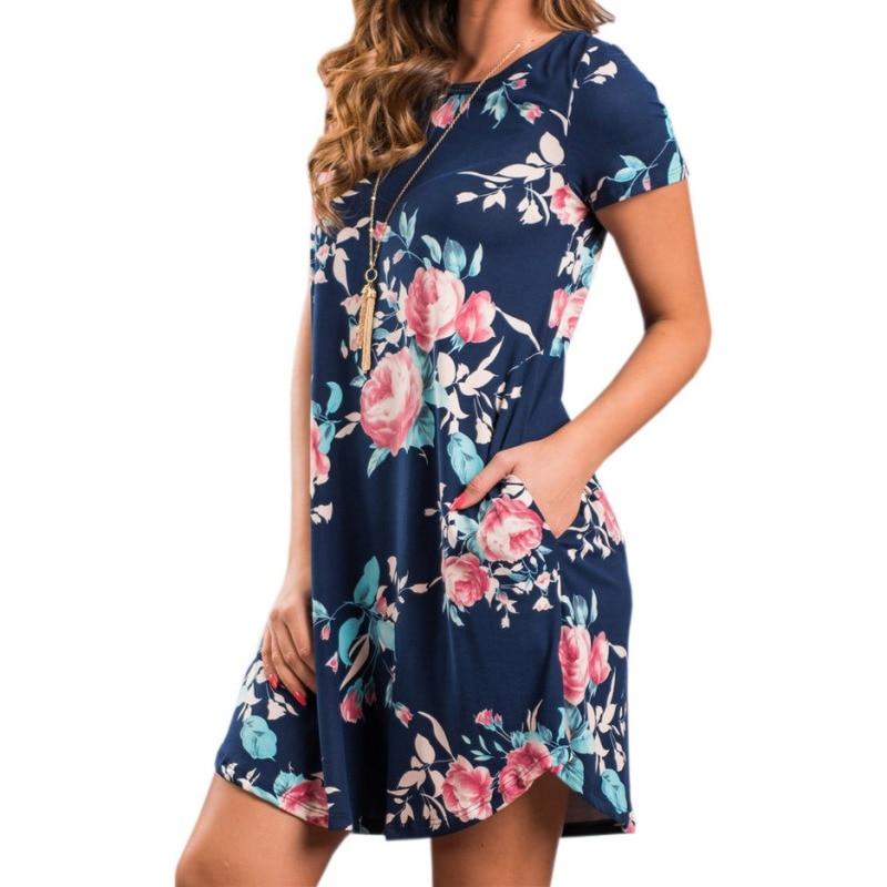 Summer O Neck Women Mini Dress Floral Print Short Sleeve Dresses Party Vestido W6