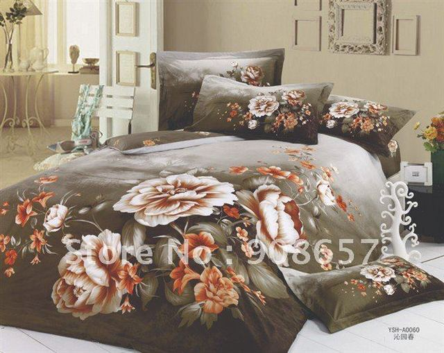 new bedlinen home textile brown oil painting peony flowers prints cotton quilt/duvet covers sets 4pcs for queen/full comforter