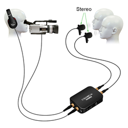 COMICA CVM-D03 Dual-head Detachable Mono/Stereo Modes Lavalier Microphone Built-in Battery for Camera DSLR Gopro Smartphone