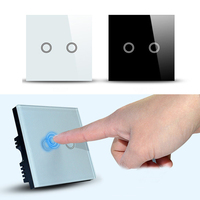 White Black Pearl Crystal Glass Panel Double Switch Home Touch Screen Wall Light Control Switchs Hot