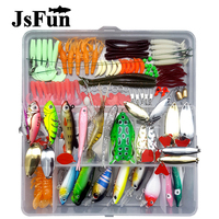JSFUN 122Pcs/set Fishing Lure Kit All Water Mixed Soft Lure Frog Lure Spoon Bait Fishing Tackle Accessories in Storage Box FU464