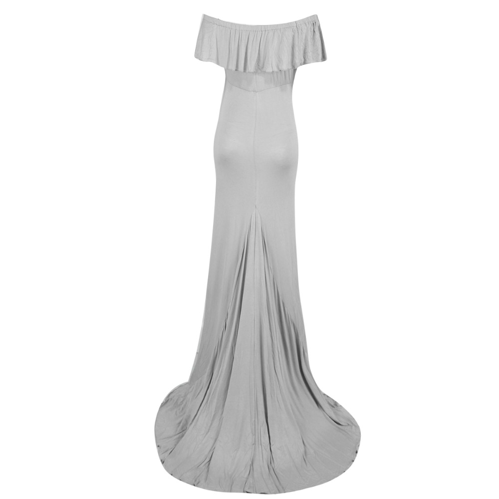 Puseky 2017 Summer New Sheath Ruffle Collar Off Shoulder Sleeveless Maxi Long Maternity Dress Clothes For Photography Props