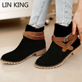 LIN KING New style winter thermal boots women high top lady shoes warm plush cotton short boots fashion ankle shoes martin boots