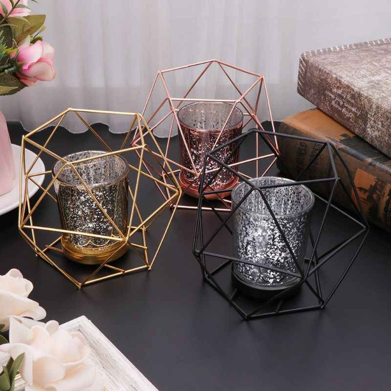 Nordic Style 3D Geometric Candlestick Metal Candle Holder Wedding Home Decor Hot Mar28