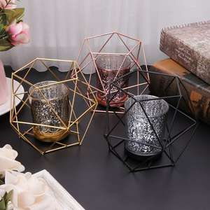 Candle-Holder Geometric-Candlestick Home-Decor Metal Wedding Nordic-Style 3D Hot Mar28
