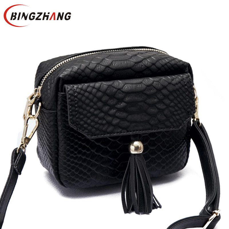 Simple Alligator Crocodile Style Leather Mini Small Women Crossbody bag Tassel M
