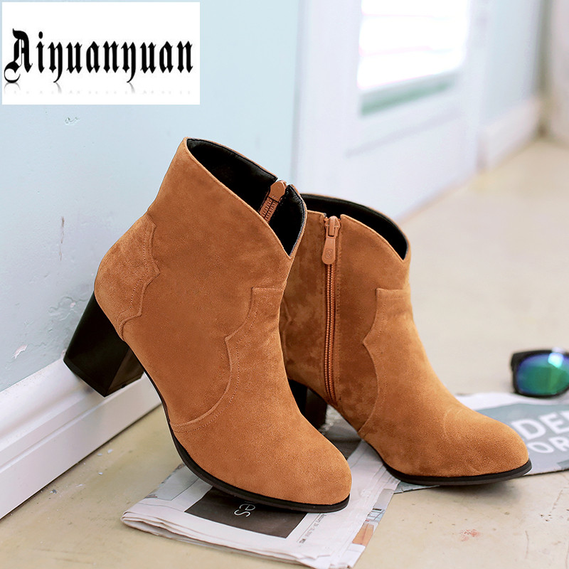 ФОТО Winter EUR Size to 43 44 45 46 47 48 High quality Flock Square heel design Concise Boots Solid Zipper design Round Toe shoes