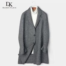 Dusen Klein Men Wool Coat Long Wool Blend Coat 2018 Winter Warm Business Casual Slim Jacket