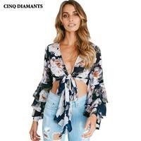 CINQ DIAMANTS Women Summer Short Shirt Blouse Long Sleeve Open Stitch Print Shirt Top Casual Tie