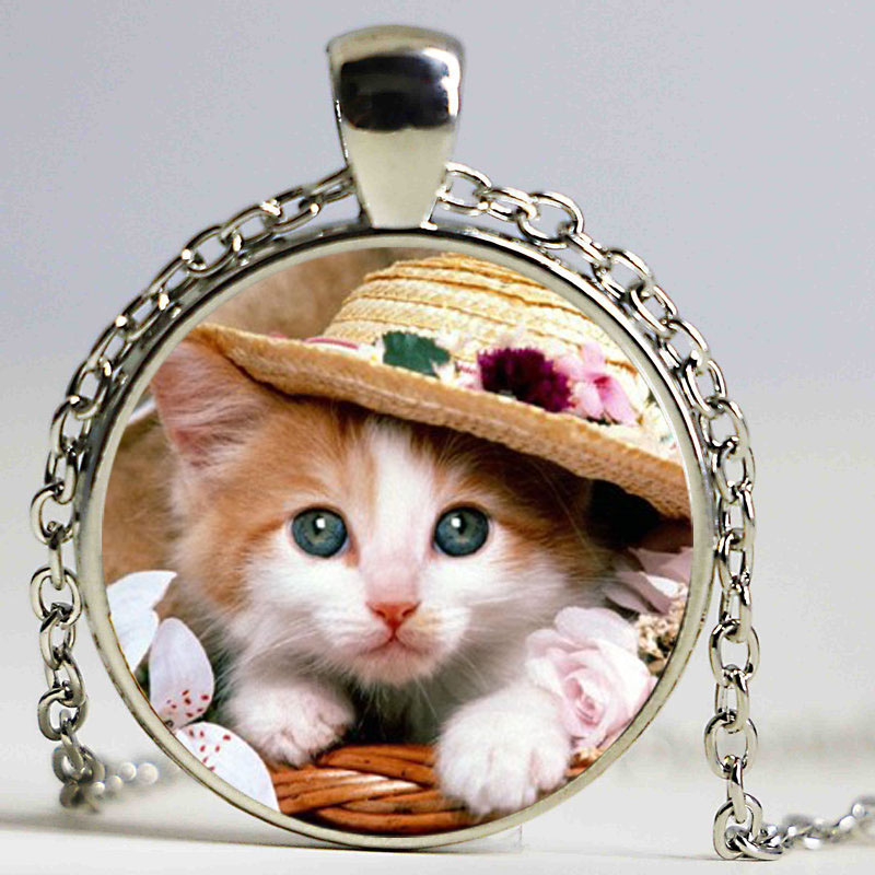 Handmade Photo Glass Dome Pendant Cute Cats font b Jewelry b font Pet Necklace Can font