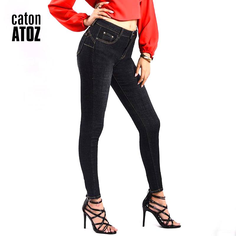 Women's Clothing Catonatoz 2203 Women`s Denim Cotton Thickening Slim High Waist Jeans For Women Black Skinny Pants Jeans Stretchy Denim Jeans In Pain