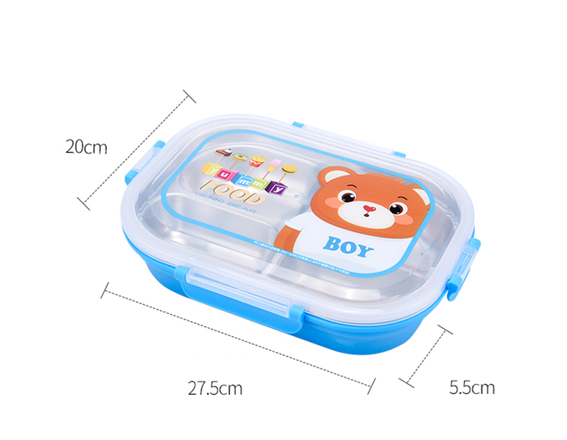 Hello Kitty Deraemon Cartoon Food Container Thermos Children School Picnic Portable Bento Lunch Boxes Rectangle Plastic Stainless Steel 16