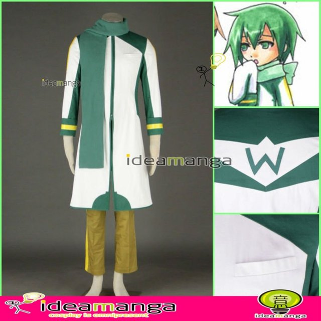 Manga Amime V+ VOCALOID KAITO style green and white version 4th man's Cosplay Costume male halloween party dress Any Size