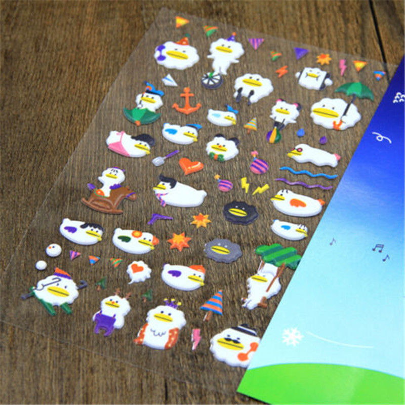 FD4495* Korea Design Cloud Duck 3D Bubble Sticker for Diary Reward Moblie Phone
