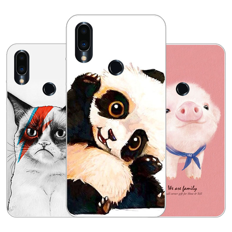 Meizu note 9 Case,Silicon panda cartoon Painting Soft TPU Back Cover for Meizu note9 protect Phone cases