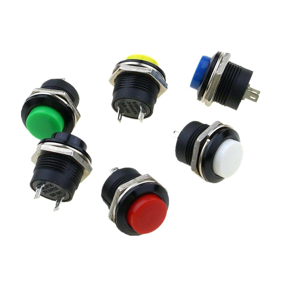 6 шт. 16 мм самовозвратный Мгновенный кнопочный переключатель 6A/125VAC 3A/250VAC R13-507