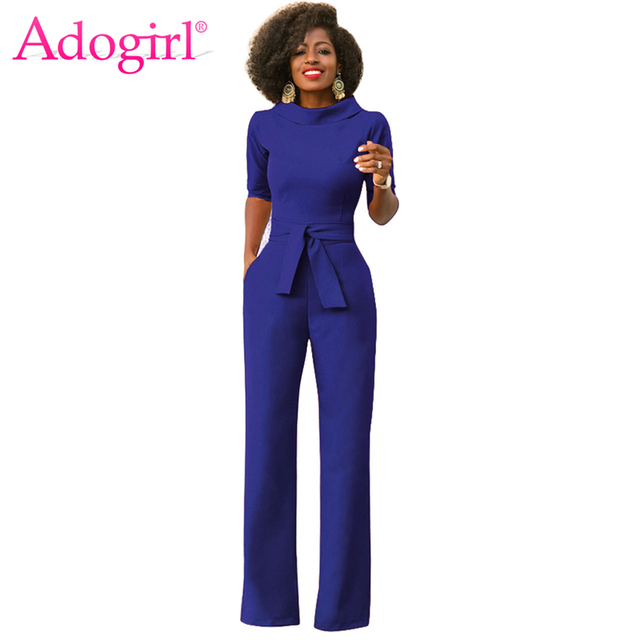 83fb73c8f Adogirl Solid Stand Collar Half Sleeve Casual Jumpsuits with Sashes Office  Lady One Piece Wide Leg
