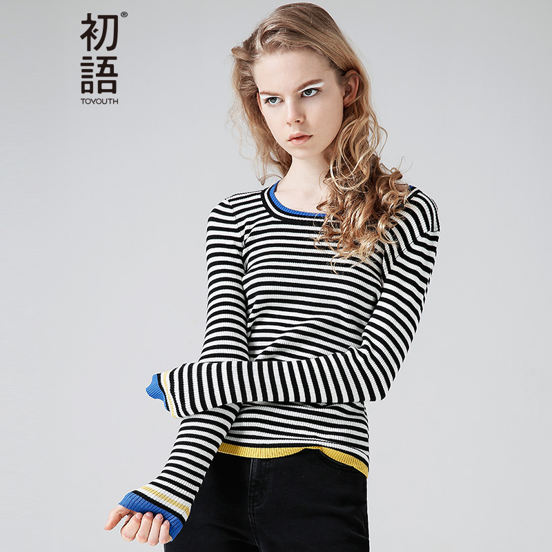 45a3bf6b79501 Toyouth Striped Sweater Women Crew neck Color Block Pullover Basic Rib  Knitted Cotton Designer Thin Ladies Fall Winter Sweater-in Pullovers from  Women s ...