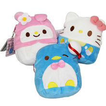 1 Pc Kawaii Cartoon Hello Kitty My Melody penguin Plush Purse Pouch Wallets for Women Girls Kids Bag plush toys gift(China)