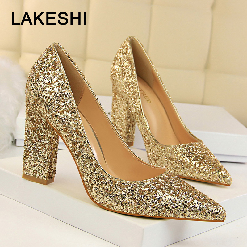 Women Pumps Sequins Women High Heels Shoes Pointed Toe Classic Pumps Gold Silver Women Heels Female Shoes