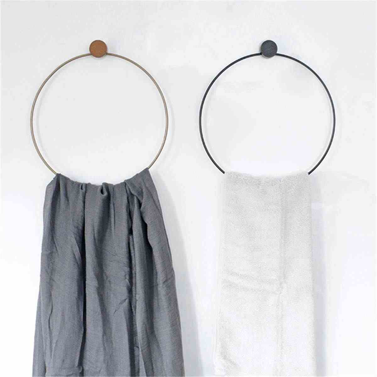 Nordic Simple Bathroom Towel Rack Hang Ring Round Decorative Shelving No Trace Installation Iron Wood Towel Holder 2 Colors