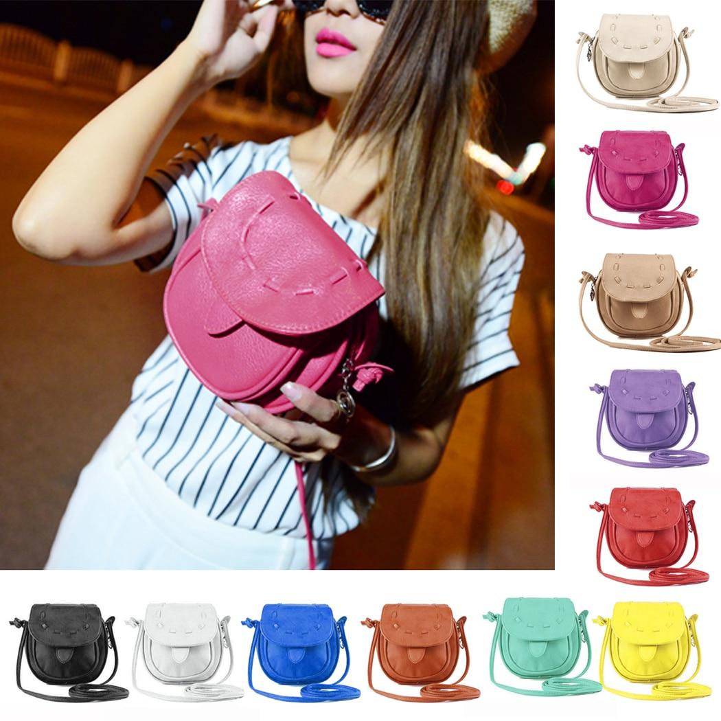 2018 New Women Lovely Luxurious PU Leather Circular Crossbody Bag Female Knitting Round Messenger Bags