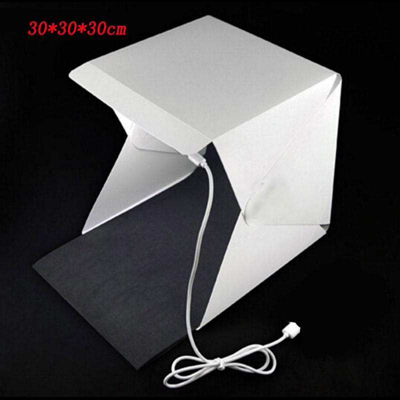 Prix pour 30 cm Portable Mini LED Photo Studio Box Photographie Toile de Fond intégré Photo de haute Lumière Boîte pliable softbox avec arrière-plan cas