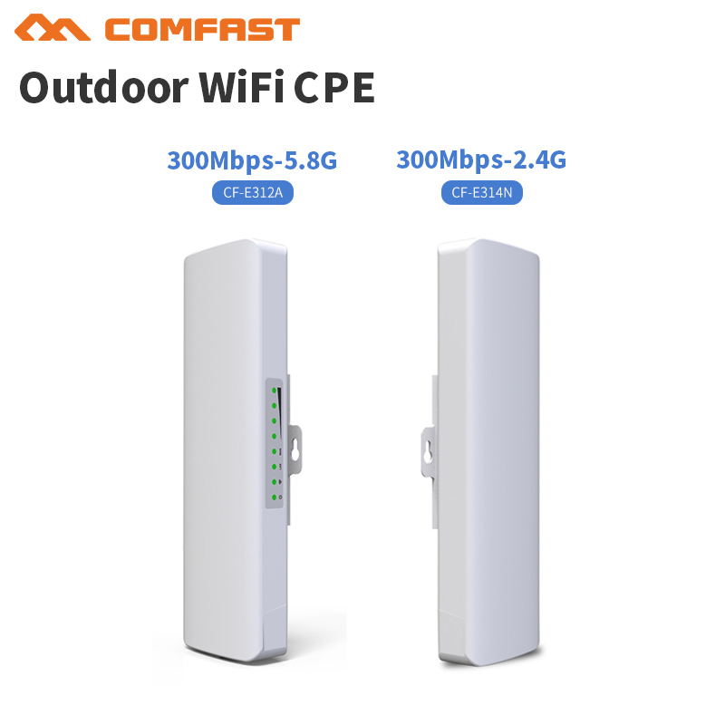 Comfast 2.4-5.8Ghz Wireless Outdoor CPE,WIFI Bridge,300M Wireless Access Point CPE Router With POE Adapter,AP/Router Bridge mode outdoor cpe 5 8g wifi router 200mw 1 3km 300mbps wireless access point cpe wifi router with 48v poe adapter wifi bridge cf e312a