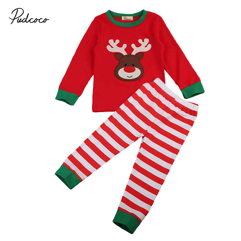 2017 New Christmas Toddler Kids Boy Girl Pajama Set Long Sleeve Deer Tops+Striped Pant 2PCS Nightwear Sleeping Clothes for 1-6Y