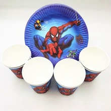 20p/set Spiderman Kid Birthday Party Supplies Plates Cups Disposable Tableware Favor Decoration Cake Dishes