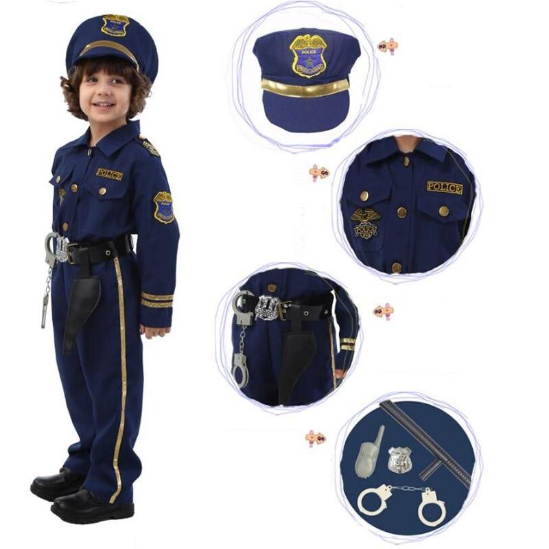 Kiváló minőségű Halloween Party sötétkék Super rendőr Cosplay jelmez gyerekeknek Aranyos gyerek jelmezek fiú divatos ruha