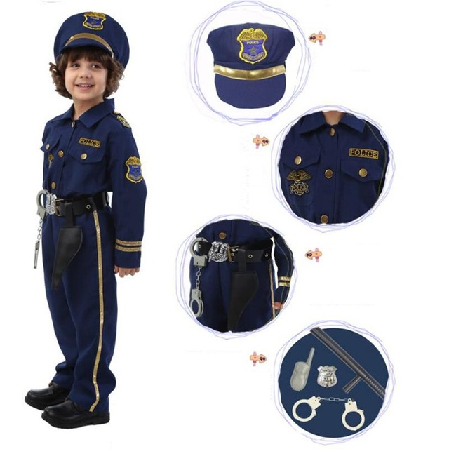 High Quality Halloween Party Dark Blue Super Policeman Cosplay Costume For Kids Cute Children Costumes Boy Fancy Dress