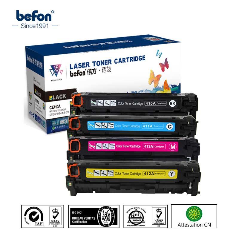 befon CE410A 410 410a 10a Color Toner Cartridge Compatible for HP305A HP300 M351 MFP M375n M451nw M451dn MFP 305 305a befon ce390a 390a 390 toner cartridges compatible for hp laserjet enteprise m4555h mfp m4555t mfp m4555fskm 600 m601 m602 m603