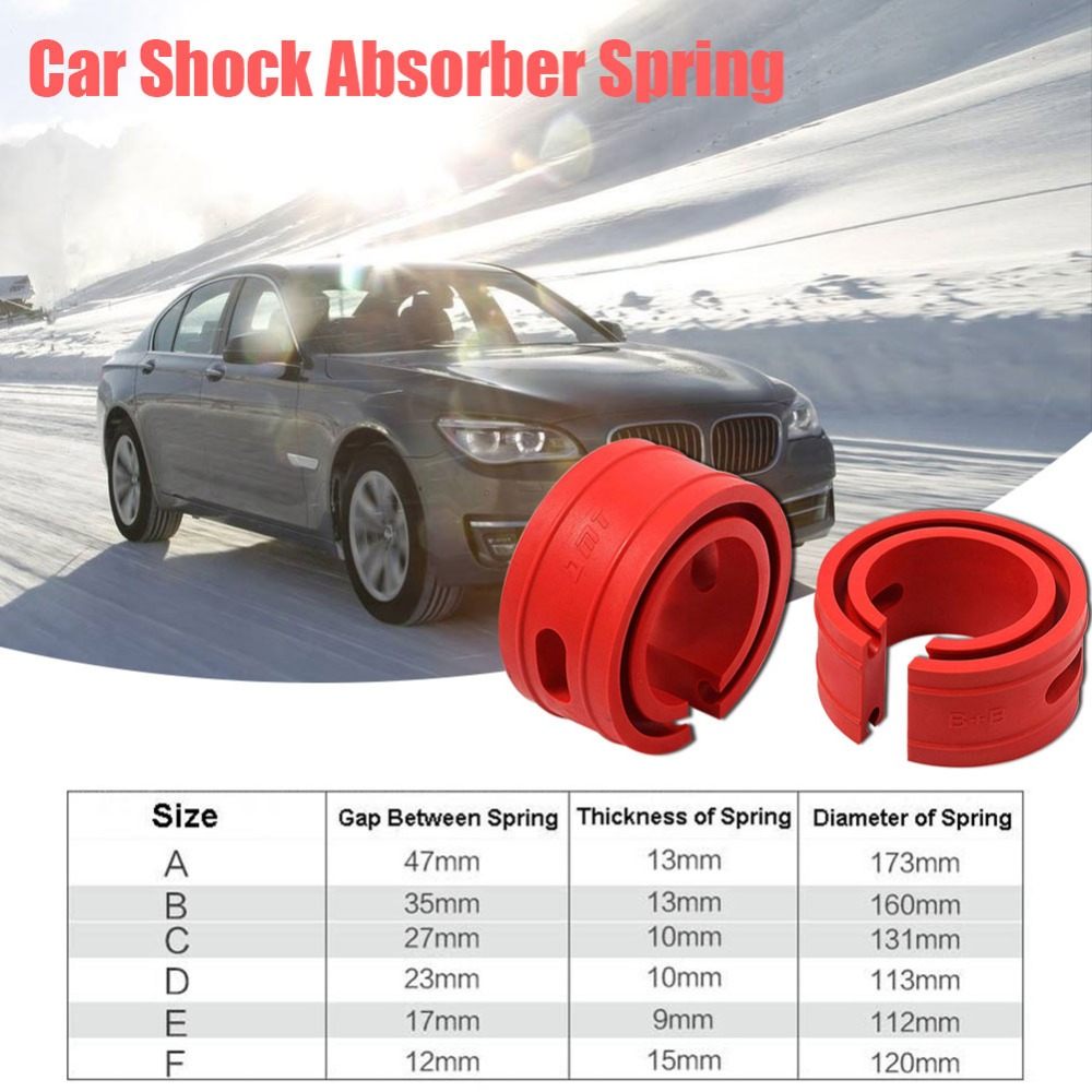 2PC Red Color Car Shock Absorber Spring Bumpar Power Auto Buffers A/B/C/D/E/ Type Cushion Universal For Most Vehicles