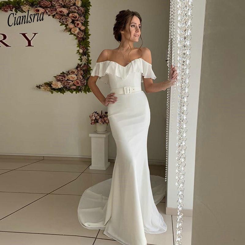 Elegant Ruffles Neck Chiffon Long Mermaid Wedding Dress Illusion Top With Sashes Short Sleeve Wedding Dresses Vestidos De Novia