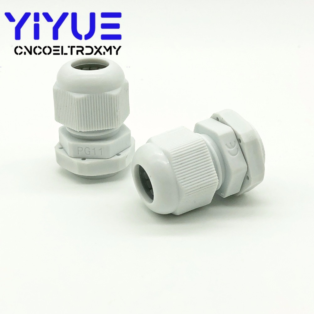 5pcslot IP68 PG7 for 3-6.5mm PG9 PG11 PG13.5 PG16 PG19 Wire Cable CE White Black Waterproof Nylon Plastic Cable Gland Connector (4)