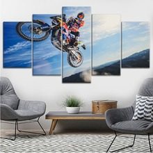 Top-Rated Canvas Print Type Modular Large Poster 5 Pieces Motorcycle Dune Rally Cross Country Painting Modern Wall Decor Artwork