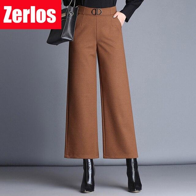16197af8b613 De laine neuf points large jambe pantalon femmes 2017 automne et hiver  nouvelle sauvage épaissir Élastique