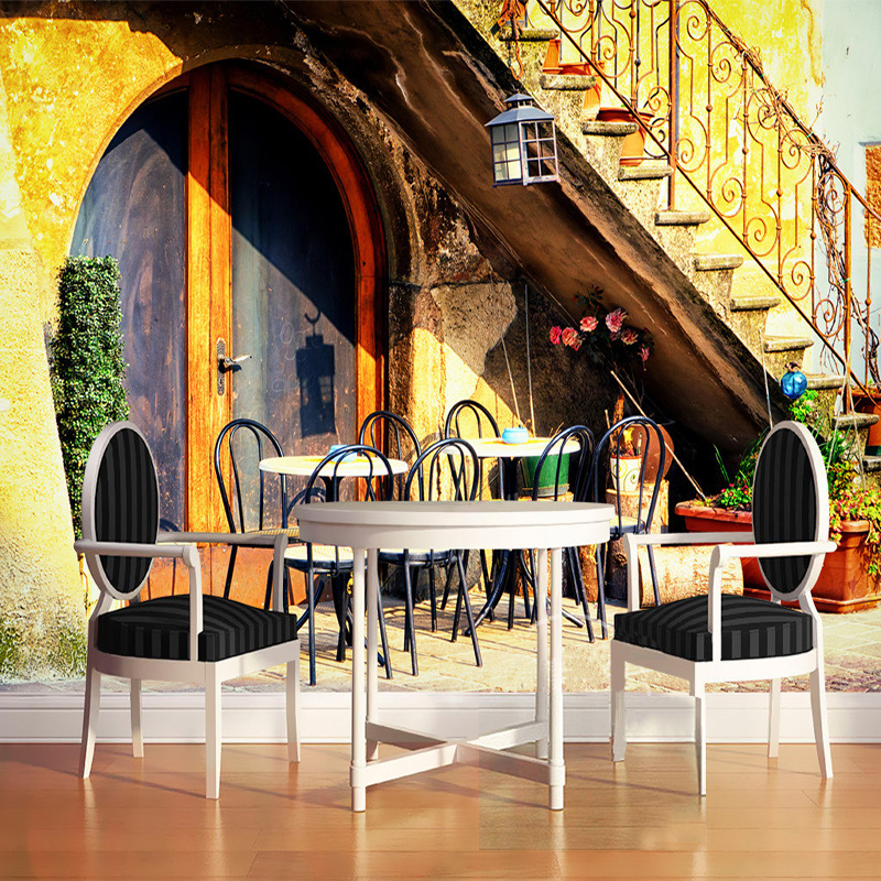 Custom 3D Photo Wallpaper European Town Street Stairs Restaurant Cafe Living  Room Backdrop Decor Wall Mural Wallpaper For Walls