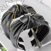 4pcs/lot Zipper Design Rock Cool Girl Leather Hair Bands Punk Street Striped Plaid Elastic Headbands Accessories For Women
