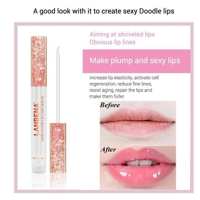 LANBENA Instant Volumising Lip Plumper Oil Moisturizing Lip Essence Repairing Reduce Lip Fine Lines Brighten Lip Color Lip Serum