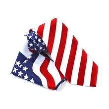 Fashion Men 9cm Ties Formal Dress Luxury Tie Striped Star American Flag Necktie Square Hanky Bowtie Set  Mens Accessories 2018