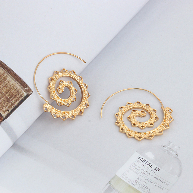 Tocona Ornate Swirl Hoop Gypsy Indian Tribal Ethnic Earrings Boho Earrings for Women Jewelry 4198 3