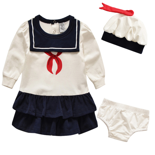 Auro Mesa Sailor Baby Girl Clothes [ Baby Dress + Hat + Briefs] 100% Cotton Newborn Dress