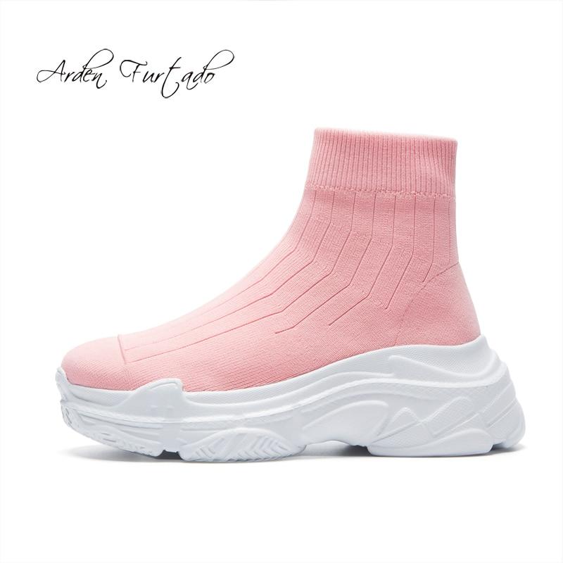Zapatos pink De Rosa Plana Botines white 2018 Tejer Otoño Blanco ...