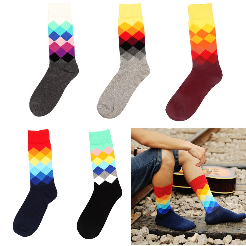 Nibesser Men's Socks 1pair Gradient Color Middle Length Casual Socks England And American Style Women Cotton Socks Spring Autumn