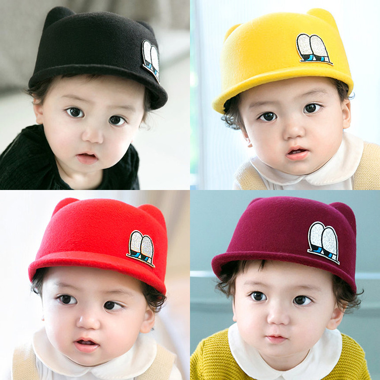 2016 Korean boy and girl baby wool Riding Hat Infant autumn and winter new large peaked cap warm hat cap kids beanies baby hats