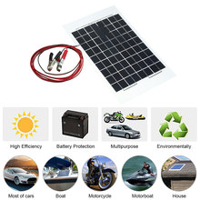 12V 10W 38 X 22 CM PolyCrystalline Transparent Epoxy Resin Solar Panel With Alligator Clip Wire Car Accessories Car Styling(China)
