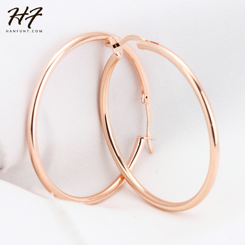 Big Hoop Earrings Rose Gold Color Fashion Brand Vintage Punk Silver Color Jewelry/Jewellery For Women Brincos E093 E659